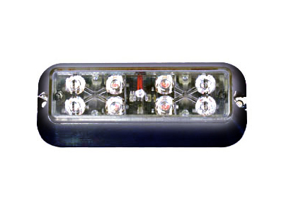 White  Single Head Flashing LED X Light with Black Bezel